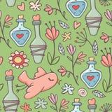 Bezszwowy wzór, napoje miłośni, ptaki, kwiaty, zieleń Obraz Royalty Free
