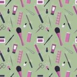 Bezszwowy wzór narzędzia dla manicure'u i pedicure'u Fotografia Stock