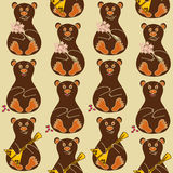 Bezszwowy wzór niedźwiedzie Obrazy Stock