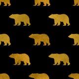 Bezszwowy wzór niedźwiedzie Na czerni Obrazy Royalty Free