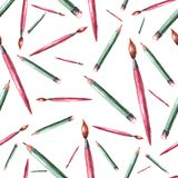 Bezszwowy wzór ołówek i muśnięcie royalty ilustracja