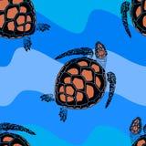 Bezszwowy wzór od żółwi na czarnym tle Royalty Ilustracja