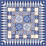 Bezszwowy wzór od płytek i granicy Marokańczyk, portugalczyk, Azulejo ornamenty Zdjęcia Royalty Free