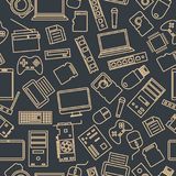 Bezszwowy wzór od setu komputeru i gadżetu ikony, wektorowa ilustracja Zdjęcie Royalty Free
