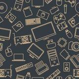 Bezszwowy wzór od setu komputeru i gadżetu ikony, wektorowa ilustracja Zdjęcie Stock