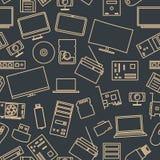 Bezszwowy wzór od setu komputeru i gadżetu ikony, wektorowa ilustracja Obraz Royalty Free
