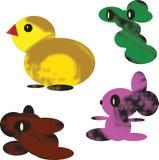 Bezszwowy wzór odosobneni kolorów elementy na białym tle Kolor żółty stylizował kurczaka i trzy fantastycznych abstrakt postaci ilustracji