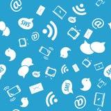 Bezszwowy wzór ogólnospołeczne ikony, błękitny kolor Ilustracji