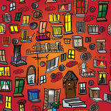 Bezszwowy wzór okno, drzwi i balkony różnorodność, ilustracji