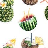 Bezszwowy wzór owocowy koktajl ananas, koks i wat, ilustracja wektor