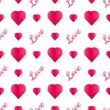 Bezszwowy wzór papierowi serca i tekst Zdjęcia Royalty Free