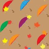 Bezszwowy wzór parasole i liście Zdjęcia Stock