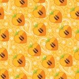 Bezszwowy wzór persimmon w sercu i Paisley Obrazy Stock