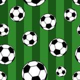 Bezszwowy wzór piłek nożnych piłki royalty ilustracja