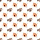 Bezszwowy wzór pociągany ręcznie śliczni zwierzęta dla dzieciaków Wizerunek pies na przejrzystym tle i kot Dziecko prysznic, urod royalty ilustracja