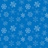 Bezszwowy wzór pociągany ręcznie czarno biały płatek śniegu fotografia stock