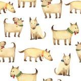 Bezszwowy wzór popielaci psy w dzieciaka stylu odizolowywającym na bielu obraz stock