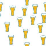 Bezszwowy wzór prości abstrakcjonistyczni alkoholiczni piwnego szkła szkła podstępne hopy zimne smakowite piwne ikony dla baru na ilustracja wektor