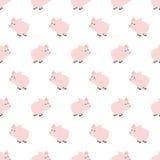 Bezszwowy wzór, prosiątko sztuki tła projekt dla tkaniny i wystrój, Kreskówka styl Children doodle niemowlęctwo Nowonarodzony royalty ilustracja