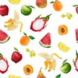 Bezszwowy wzór różne owoc w a Ilustracji