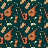 Bezszwowy wzór ręka rysujący tradycyjni Slawistyczni, Ukraińscy instrumenty muzyczni, ilustracja wektor