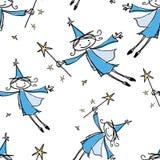 Bezszwowy wzór radośni latający elfy obraz stock
