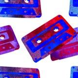 Bezszwowy wzór - retro akwareli audiocassette Obrazy Royalty Free