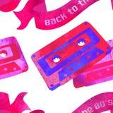 Bezszwowy wzór - retro akwareli audiocassette Zdjęcia Stock