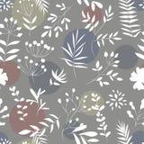 Bezszwowy wzór rośliny na barwionym tle Obraz Royalty Free