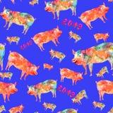Bezszwowy wzór robić od akwareli świni royalty ilustracja