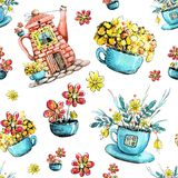 Bezszwowy wz?r, rysunkowa akwarela z wizerunkiem dom w czajniku i fili?anka, Projekta poj?cie dla herbaty, kawiarnia, restauracja ilustracji