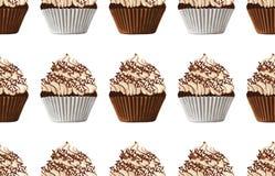 Bezszwowy wzór słodkiej czekolady babeczki ilustracja wektor