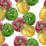 Bezszwowy wzór słodkiego pieprzu akwarela Obrazy Stock