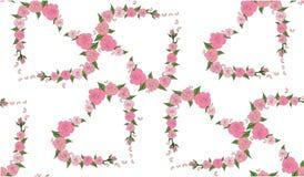 Bezszwowy wzór serc składać się z delikatne róże Zdjęcie Royalty Free