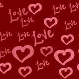 Bezszwowy wzór serca i miłość słodkie tło Rewolucjonistka, purpura, menchie barwi artystyczną wektorową teksturę Walentynek serca ilustracji