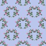 Bezszwowy wzór serca różowe róże na błękitnym tle royalty ilustracja