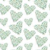 Bezszwowy wzór serce eukaliptusowe gałąź fotografia stock
