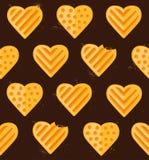 Bezszwowy wzór sercowaci ciastka Zdjęcia Royalty Free