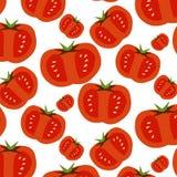 Bezszwowy wzór slised pomidory ilustracja wektor