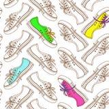 Bezszwowy wzór sneakers Fotografia Royalty Free