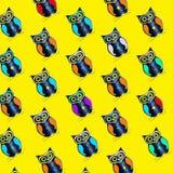 Bezszwowy wzór sowa obraz stock