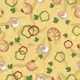 Bezszwowy wzór, spaghetti z garnelą Fotografia Royalty Free