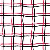 Bezszwowy wzór stylizowana czarna i czerwona szkocka komórka na białym tle ilustracja wektor