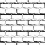 Bezszwowy wzór stylizowany ściana z cegieł, czarny i biały Zdjęcia Stock
