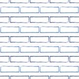 Bezszwowy wzór stylizowany błękitny ściana z cegieł Obraz Stock
