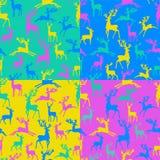 Bezszwowy wzór sylwetki jeleni wektorowy ilustracyjny characte royalty ilustracja