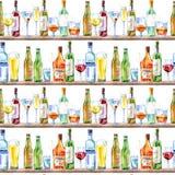 Bezszwowy wzór szampan, ajerówka, koniak, wino, piwo i szkło, ilustracja wektor