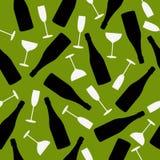 Bezszwowy wzór szampan i szkła Zdjęcia Stock