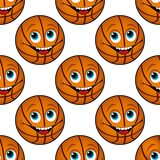 Bezszwowy wzór szczęśliwa kreskówki koszykówka Zdjęcia Royalty Free