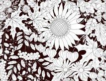 Bezszwowy wzór, tło z jesień kwiatami, liście i śliwki, Zdjęcia Royalty Free